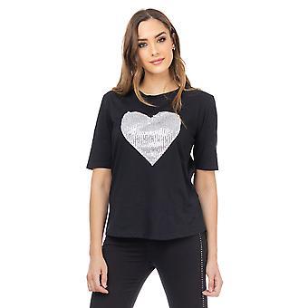 T-shirt met paillettenhart