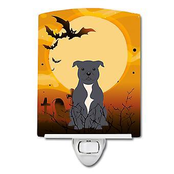 Caroline s Schätze Halloween Staffordshire Bull Terrier blau Keramik Nachtlicht, 6 X 4, Multicolor