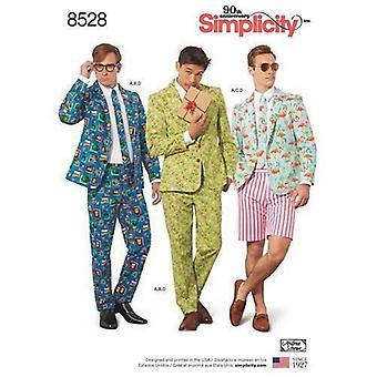 البساطة الخياطة نمط 8528 الرجال زي بدلة متعة يطبع حجم 34-42 Uncut