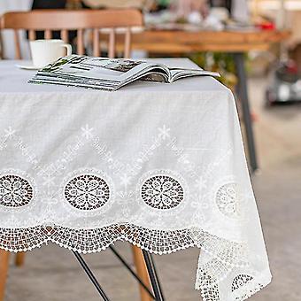 ل135cm الفاخرة الأبيض مفرش المائدة طرف مفرش المائدة الفندق المطرزة الدانتيل الأوروبي مفرش المائدة (أبيض) WS24138