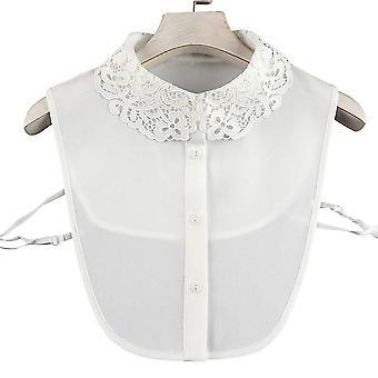 anti krøll halv skjorter broderi falsk krage floral blonder nakke avtakbar bluse