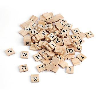 100pcs Wooden Alphabet Tiles Black Letters & Numbers For Scrabble Children Toy