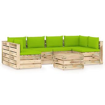 vidaXL 7 pcs. Garden Lounge Set with Cushion Green Impregnated Wood