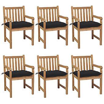 vidaXL sillas de jardín 6 piezas con cojín negro de madera maciza de teca
