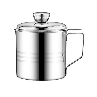 Stainless Steel Oil Strainer Pot Container Storage Can With Filter 1.2L Cooking Oil Storage Pot