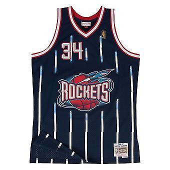 Mitchell & Ness Nba Houston Rockets Hakeem Olajuwon Swingman SMJYGS18173HRONAVY96HOL koripallo koko vuoden miesten t-paita