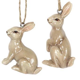 Enda keramiska hängande kanin för påskträdsdekoration