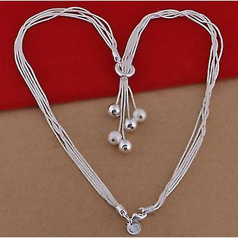 High Quality 925 Silver Sand Bead Multi-rope Necklace Link Chain(45cm)