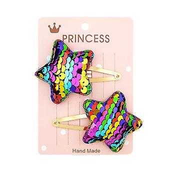 6SETS 2Kpl / set Paljetit Sarjakuva Love Heart Crown Hiusleikkeet tytöille Käsintehty Boutique Hairgrips
