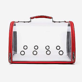 Transparent Cat Carrier, Puppy Carrying Shoulder Bag Handbag Portable(Red)