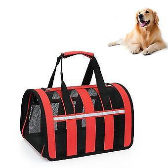 Faltbare Mesh atmungsaktive Haustiere gehen aus tragbare diagonale Tragetasche, Größe: M(rot)