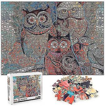 Skladačky 1000 kusov sova maľovanie skladačky vzdelávacie učenie montáž skladačky hračky darček #4769