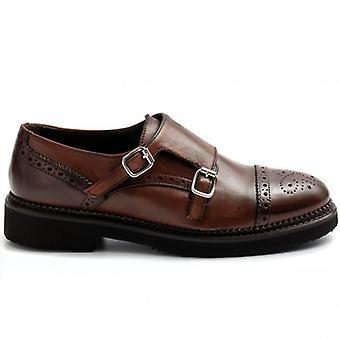 Brun munkrem Sangiorgio sko med dubbla spänne