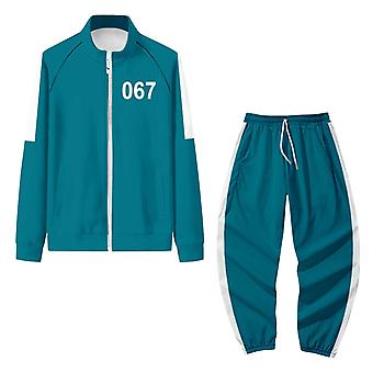 Squid Game Jacket Pants Set Cosplay Sports Cardigan Digital 067 Printing Zipper Pocket Sweatshirts
