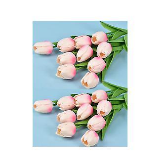 20pcs Künstliche Tulpenblumen Fake Hell Rosa Tulpenblumen Hochzeitsstrauß Haus Garten Dekoration
