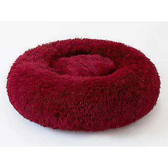 Round Pet Bed Cat Litter Dog Bed Round Plush Cat Bed, Wine Red