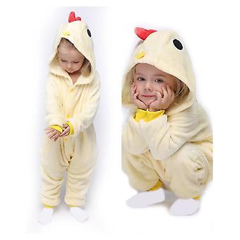 Unisex Kinder pyjama Plüsch Onesie Einteiler Tier Cosplay Kostüm Halloween Weihnachtsgeschenk (gelb)