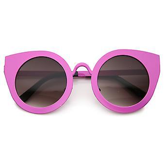 Frauen Metallrahmen Oversize Runde Cat Eye Sonnenbrille 47mm
