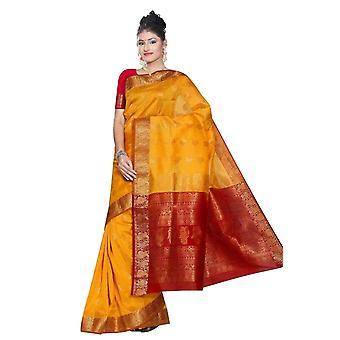 Gele en rode Zuid-Indiase decoratieve kunst zijde Sari Saree buikdansen wrap