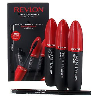 Revlon Ultimate Collection -  3 x All in One Mascara 8.5ml - Blackest Black and Colorstay Eyeliner - Black