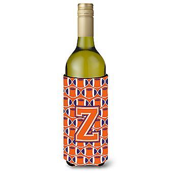 Letter Z Football Orange, White and Regalia Wine Bottle Beverage Insulator Hugge