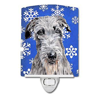 Scottish Deerhound Winter Snowflakes Ceramic Night Light
