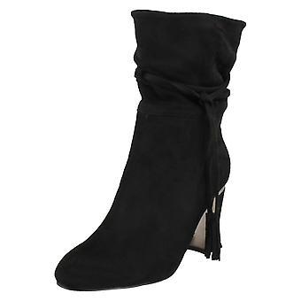 Ladies Spot On Tassel Trim Calf Boots F50855