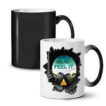 You Feel it Club DJ NEW Black Colour Changing Tea Coffee Ceramic Mug 11 oz | Wellcoda