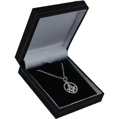Silver 18mm engraved Masonic emblem in a circle with G on a curb Chain 24 inches