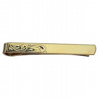 Inciso a mano mezza 6x55mm dura placcato oro cravatta Slide
