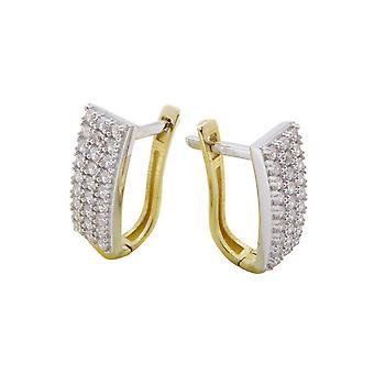 Bicolor gouden oorclips met zirkonia