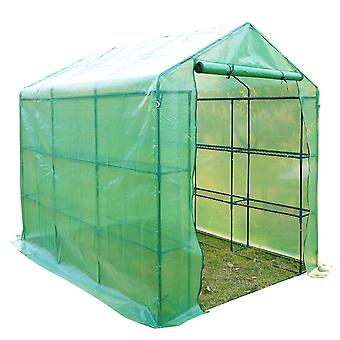 Outsunny Poly Tunnel Steeple Walk in Garden Greenhouse with Removable Cover Shelves - Green 244 x 182 x 213cm