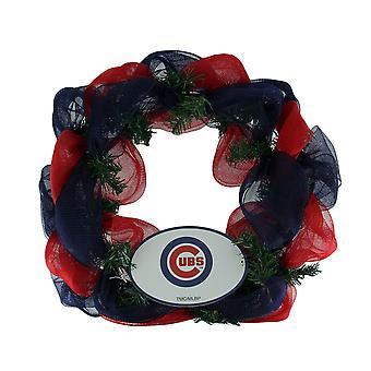 MLB Chicago Cubs Logo Mesh Holiday Door Wreath