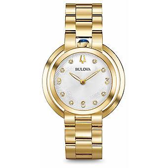 Bulova Womans Rubaiyat Gold Tone Diamond 97P125 Watch
