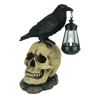 Light of the Dead Raven On Skull Solar LED Outdoor Statue
