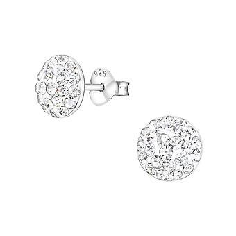Раунд - 925 стерлингового серебра кристалл уха шпильки - W36471x