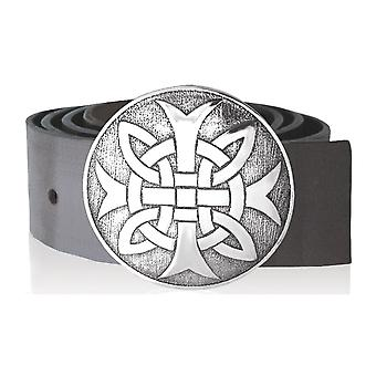 Celtic Knotwork with Cross Pewter Round Kilt Buckle 88mm Diameter