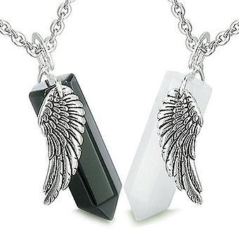 Amuletit energian rakkaus pari tai paras ystävät Angel Wings Crystal pisteitä Jade Onyx-kaulakorut