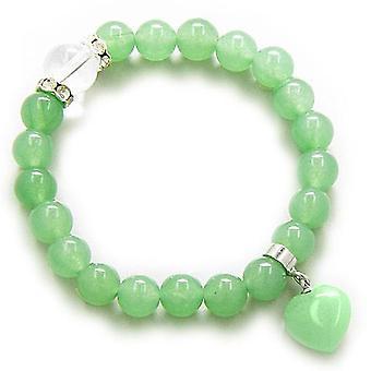 Swarovski och grön Aventurine hjärtat pengar Talisman armband
