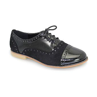 Ladies Lace Up Patent Contrast Flat Low Heel Smart Office School Brogue Shoes