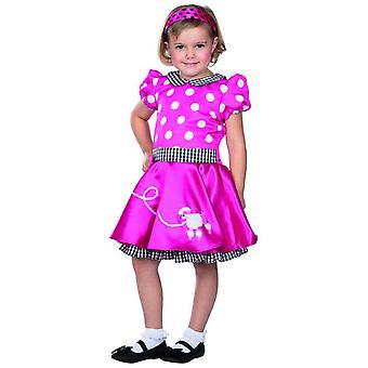 Fiftys kjole rosa prikker poodle barn karneval skjørt Billy drakt girl