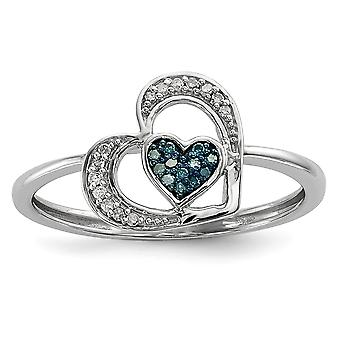 925 Sterling Silver Open back Gift Boxed Rhodium plated Blue and White Diamond Love Heart Ring Jewelry Gifts for Women -