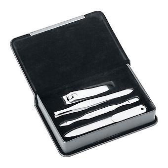David Van Hagen Travel Manicure Set - Silver/Black
