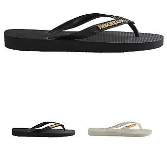 Plage d'été léger Womens Havaianas Logo Metallic Flip Flop sandales