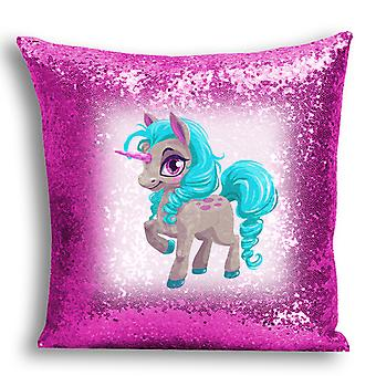 i-Tronixs - Unicorn Printed Design Pink Sequin Cushion / Pillow Cover with Inserted Pillow for Home Decor - 17