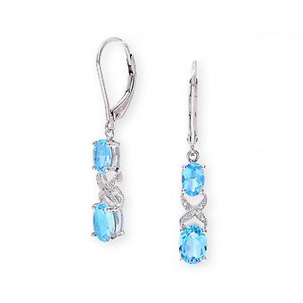 Star Wedding Rings Sterling Silver Earring Set With Blue Topaz Gem Stone And And Diamonds