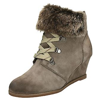 Damen Clarks Mode Lace Up Wedge Stiefel Lumiere Spin