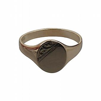 9ct Gold 12x10mm hand engraved oval gents Signet Ring Size W