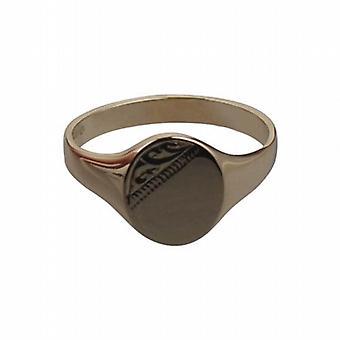 9ct Gold 12x10mm kézzel vésett ovális férfiak Signet Ring size W