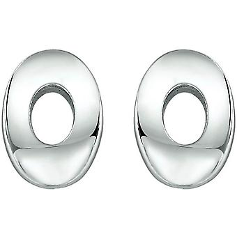 Bella Oval Stud Earrings - Silver